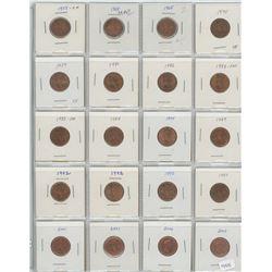 1 Sheet od 20 canadian Pennies - Various dates