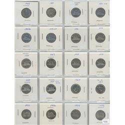 1 Sheet od 20 canadian Nickels - Various dates