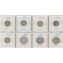 8 United States Silver Coins - 5-Ten cent & 3-Quarter Dollar