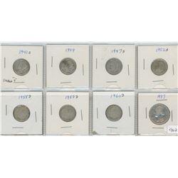 8 United States Silver Coins - 7-Ten cent & 1-Quarter Dollar