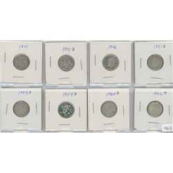 8 U nited States Silver Ten Cent Coins
