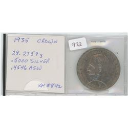 1935 Great Britain Crown - 500 Silver, 4546 ASW-KM #842