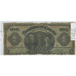 1911 Dominion of Canada One Dollar Note - see details