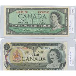 1954 & 1973 Canadian One Dollar Bills - CHUNC