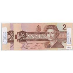 Two 1986 Canadian Two Dollar Bills - CHUNC
