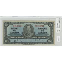 1937 Canadain Five Dollar Bill - VF