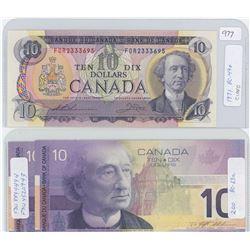 1971 ans Two 2001 Canadian Ten Dollar Bills - CUNC