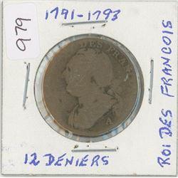 1791-1793 Roi Francois - 12 Deniers