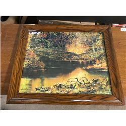 """23""""x19"""" Picture Of Nature Signed By """"Harley"""" Wooden Frame"""