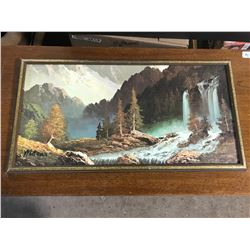 """25""""x13"""" Framed Painting of Waterfall + Forest"""