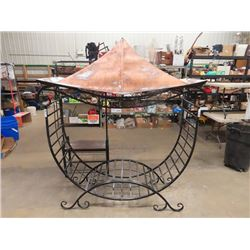 """Wrought Iron Fire Wood Holder w Copper Canopy 7'H 6' W & 20 """" D"""