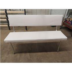 "Retro Chrome Leg Bench w Back Rest Upgraded Upholstery 51"" W"