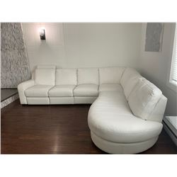 4 PC White Leather Sectional - 1 Pc is A Recliner Clean w Some Spots of Wear