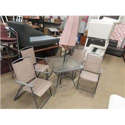 Patio Table & Chairs Set (Table, Umbrella & 4 Folding Chairs)