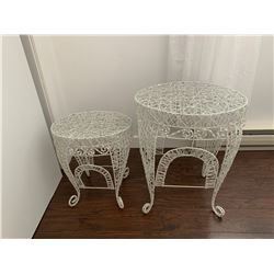 """Wrought Iron Stands w Sparkle Glow 1 is 21""""H x 17""""W x 13"""" D, the other is 16""""H x 14"""" W x 10"""" D"""