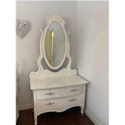 "Antique Painted Dresser w Swing Mirror 28""H 40""W 19""D , Plus Mirror 50"" x 24"""