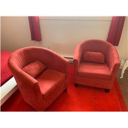 2 Matching Red Upholstered LR Chairs