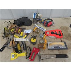 Trowels, Tape Measurer, Eye Safety, Knee Pads, Utility Knives, Staples, Various Hardware Plus More!