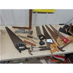 Saws, Hammers, Wood Chisels, Staples, Levels, &  Tape Measurers