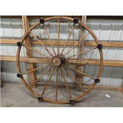6' Wooden Wagon Wheel Light Fixture w Chimney