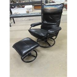 Leather Swivel Chair & Ottoman w Scenic Head Custion - Could Be Removed if You Wanted