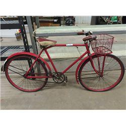 Vintage Men's Glider Bike w Basket , Bell & Brass Tag