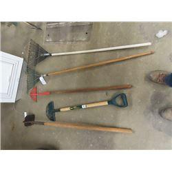Hand Yard Tools- Edger, 2 Rakes, & 2 Hoes