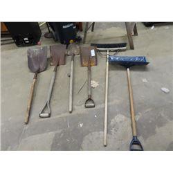 Yard Tools- Push Broom, Snow Shovel, Spades & Shovels
