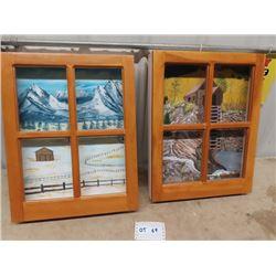 "Art Bobag Painting On Canvas w 4 Pane Window Frame 17.5"" x 22.5"""