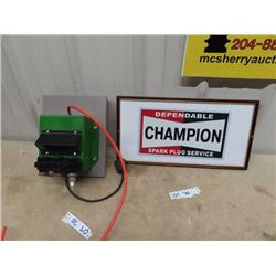 "Champion Sprak Plug Machine, & Framed Champion Adv 10.5"" x 20"""
