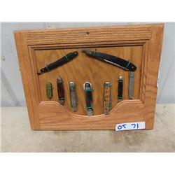 9 - 7 Pocket Knives & 2 Shaving Straight Blades On Oak Display