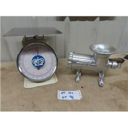 Household Scale w Stainless Stee Tray & Meat Grinder