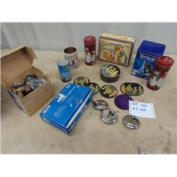 3 Durable Padlocks w Key, 2 New Faucets, Modern Household Tin, & City of Wpg Can of Air