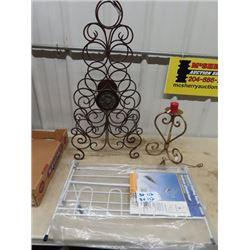 Wrought Iron Wine Rack, Wrought Iron Candle Holder  & New Shoe Rack