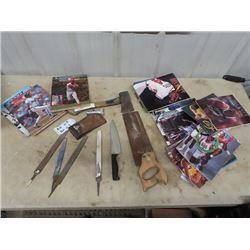 Beckett Sports Magazines, Hatchets, Saws & Files 2 Fishing Rods & Reel