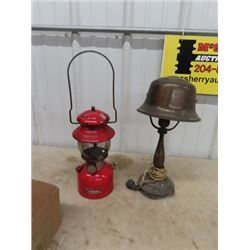 Coleman Lantern No T-66 & Brass Table Lamp