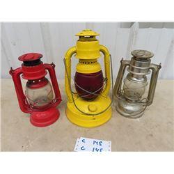3 Barn Lanterns - 1  w Colored Glass