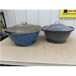 2 Graniteware Bread Bowls w Lids