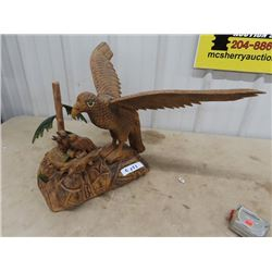 """Wood Carved Eagle w Bird  14"""" H 15"""" D w 9"""" Wing Span"""