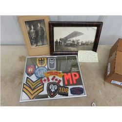 Framed Military Photo & Patches- Vintage