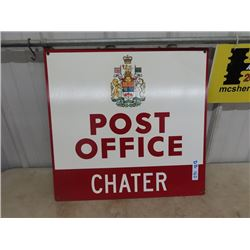 """Metal Post Office Sign - Chartier, MB  Exec Cond 23"""" x 24"""""""
