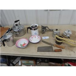 Corningware Coffee Pot, Aluminum Kettle, Enamel Bowls, Butcher Knife, Clever, Wearever , Juicer - Vi