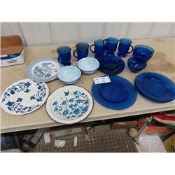Cobalt Blue Setting - Some Enamel Plates, Bowls Plus More!