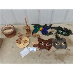 Birch Berry Basket, Wooden Decanter Set, 4 Feather Masquerage Cat Masks