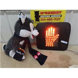 Traffic Walk/Stop Light Up Sign- Stuffy Husky Dog & Husky Scarf