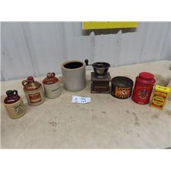 Coffee Grinder, Household Tins, Crockery
