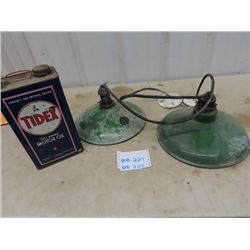 2 Porc Light Fixtures, & Tidex Oil Can