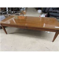 "Coffee Table w Fitted Glass 15""H 52""W 20""D"