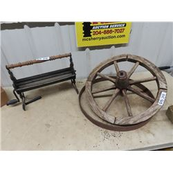 "2 Wagon Wheels 22""RD  & Paper Log Roller"