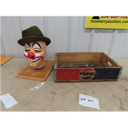 Pepsi Crate, & Mannequin w Clown Mask